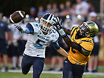 Mater Dei's Carson Loepker (left) breaks up a pass intended for Althoff's Jayden Fridge. Mater Dei played football at Althoff on Friday September 13, 2019. <br /> Tim Vizer/Special to STLhighschoolsports.com