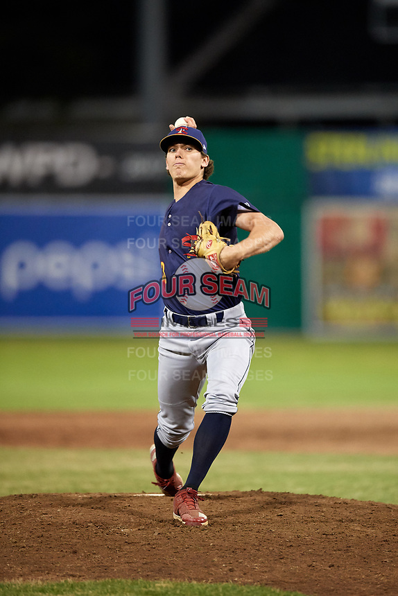 State College Spikes relief pitcher Kevin Hamann (33) delivers a pitch during a game against the Batavia Muckdogs on July 7, 2018 at Dwyer Stadium in Batavia, New York.  State College defeated Batavia 7-4.  (Mike Janes/Four Seam Images)