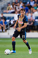 Michael Farfan (21) of the Philadelphia Union. The Chicago Fire defeated the Philadelphia Union 3-1 during a Major League Soccer (MLS) match at PPL Park in Chester, PA, on August 12, 2012.