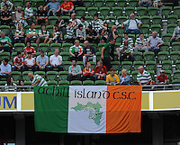 10th August 2013; Achill Island Celtic Supporters Club display a banner before the match. Pre-season Friendly, Liverpool v Celtic, Dublin Decider, Aviva Stadium, Dublin. Picture credit: Tommy Grealy/actionshots.ie.