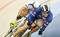 19 FEB 2012 - LONDON, GBR - France's Kevin Sireau (FRA) leads Colombia's Fabian Puerta Zapata (COL) during their Men's Sprint 1/8 Final heat at the UCI Track Cycling World Cup final round in the Olympic Park Velodrome in Stratford, London, Great Britain .(PHOTO (C) 2012 NIGEL FARROW)
