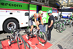 Bardiani-CSF rider warms up on the turbo before Stage 1 of the 2019 Giro d'Italia, an individual time trial running 8km from Bologna to the Sanctuary of San Luca, Bologna, Italy. 11th May 2019.<br /> Picture: Eoin Clarke | Cyclefile<br /> <br /> All photos usage must carry mandatory copyright credit (© Cyclefile | Eoin Clarke)