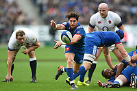 Maxime Machenaud of France passes the ball back. Natwest 6 Nations match between France and England on March 10, 2018 at the Stade de France in Paris, France. Photo by: Patrick Khachfe / Onside Images