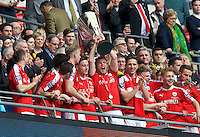 Barnsley celebrate after winning the Johnstone's Paint Trophy Final match between Oxford United and Barnsley at Wembley Stadium, London, England on 3 April 2016. Photo by Alan  Stanford / PRiME Media Images.