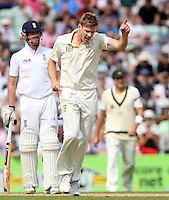 James Faulkner of Australia celebrates after taking the wicket of James Anderson - England vs Australia - 5th day of the 5th Investec Ashes Test match at The Kia Oval, London - 25/08/13 - MANDATORY CREDIT: Rob Newell/TGSPHOTO - Self billing applies where appropriate - 0845 094 6026 - contact@tgsphoto.co.uk - NO UNPAID USE
