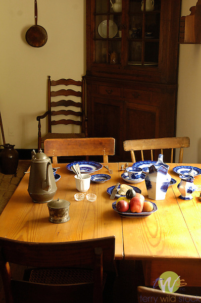 Appomattox National Park.view of Civil War village.McClean House dining room interior- Civil War surrender