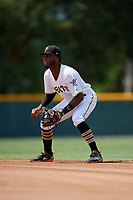 GCL Pirates second baseman Yoyner Fajardo (7) during a Gulf Coast League game against the GCL Red Sox on August 1, 2019 at Pirate City in Bradenton, Florida.  GCL Red Sox defeated the GCL Pirates 11-3.  (Mike Janes/Four Seam Images)