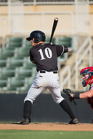Mitch Roman (10) of the Kannapolis Intimidators at bat against the Hagerstown Suns at Kannapolis Intimidators Stadium on June 15, 2017 in Kannapolis, North Carolina.  The Intimidators walked-off the Suns 5-4 in game one of a double-header.  (Brian Westerholt/Four Seam Images)