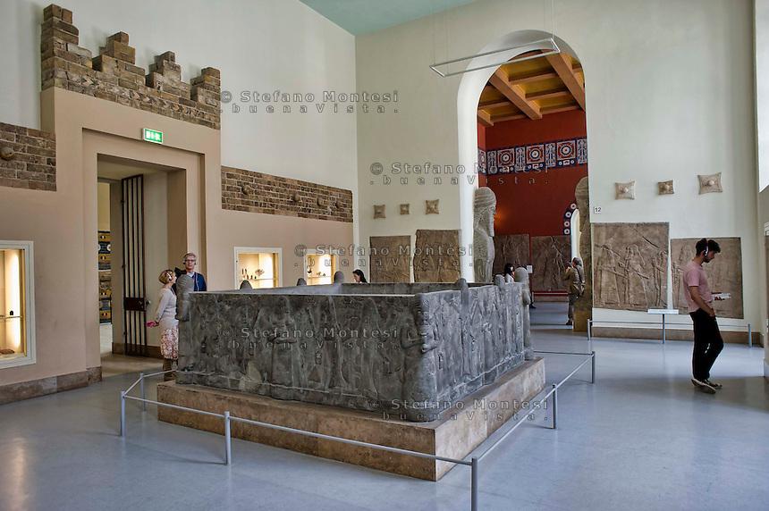 Berlin,  Museum Island<br /> Pergamon Museum,  Bath, Assur reign of Sennacherib 704-681 BC (Basalt)