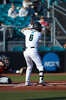 Nick Lucky (6) of the Coastal Carolina Chanticleers at bat against the Illinois Fighting Illini at Springs Brooks Stadium on February 22, 2020 in Conway, South Carolina. The Fighting Illini defeated the Chanticleers 5-2. (Brian Westerholt/Four Seam Images)