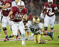 STANFORD, CA - November 30, 2013: Stanford Cardinal running back Tyler Gaffney (25) during the Stanford Cardinal vs the Notre Dame Irish at Stanford Stadium in Stanford, CA. Final score Stanford Cardinal 27, Notre Dame Irish  20.