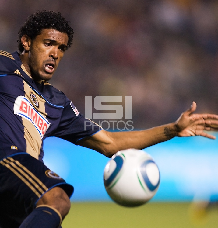 Philadelphia Union defender Sheanon Williams (25) ball watching. The LA Galaxy defeated the Philadelphia Union 1-0 at Home Depot Center stadium in Carson, California on  April  2, 2011....