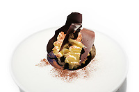 Modena, 24 February 2017 – The dessert of Tiramisu: Peruvian Criollo chocolate, Tierra coffee and mascarpone from Rosola at Osteria Francescana, Modena, Italy. Photo Sydney Low