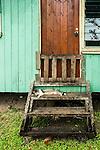 Sleeping cat on the steps of local village hut, Coral Coast, Viti Levu, Fiji Islands