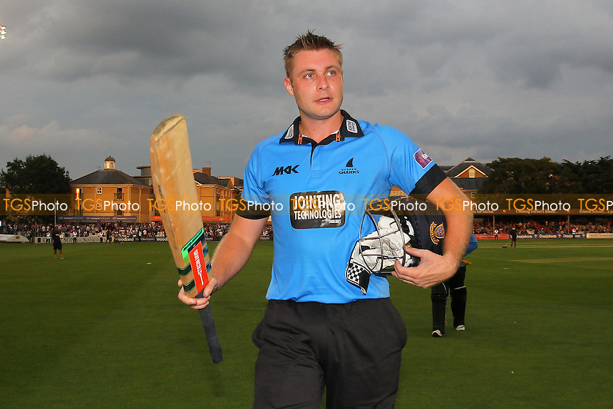 Luke Wright of Sussex celebrates his score of 153 - Essex Eagles vs Sussex Sharks - NatWest T20 Blast Cricket at the Essex County Ground, Chelmsford, Essex - 25/07/14 - MANDATORY CREDIT: Gavin Ellis/TGSPHOTO - Self billing applies where appropriate - contact@tgsphoto.co.uk - NO UNPAID USE