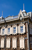Wooden houses with shutters, Irkutsk, Siberia, Russia