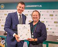 Rotterdam, The Netherlands, 17 Februari 2019, ABNAMRO World Tennis Tournament, Ahoy, Tournament photographer Henk Koster (R) is being honored bij tournament director Richard Krajicek for being the tournament photographer for 45 years.<br /> Photo: www.tennisimages.com/Henk Koster