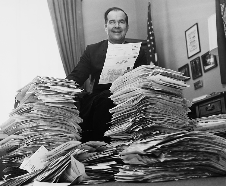 Rep. Barber Conable, R-N.Y. answers on his Questionaries. 1977 (Photo by Mickey Senko/CQ Roll Call)