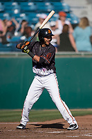 San Jose Giants designated hitter Wander Franco (12) at bat during a California League game against the Lancaster JetHawks at San Jose Municipal Stadium on May 12, 2018 in San Jose, California. Lancaster defeated San Jose 7-6. (Zachary Lucy/Four Seam Images)