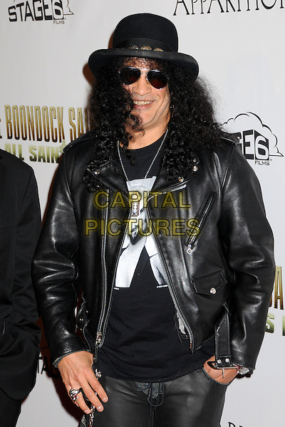 "SLASH (Saul Hudson).""The Boondock Saints II: All Saints Day"" Los Angeles Premiere held at Arclight Cinemas, Hollywood, California, USA..October 28th, 2009.half length black jacket top hat leather sunglasses shades.CAP/ADM/BP.©Byron Purvis/AdMedia/Capital Pictures."