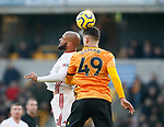 David McGoldrick of Sheffield Utd and Max Kilman of Wolverhampton Wanderers  during the Premier League match at Molineux, Wolverhampton. Picture date: 1st December 2019. Picture credit should read: Simon Bellis/Sportimage