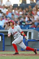 Gabe Roa #8 of the Spokane Indians bats against the Hillsboro Hops at Hillsboro Ballpark on July 22, 2013 in Hillsboro Oregon. Spokane defeated Hillsboro, 11-3. (Larry Goren/Four Seam Images)