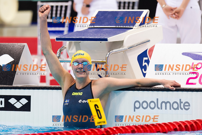SJOESTROEM Sarah SWE gold medal<br /> London, Queen Elizabeth II Olympic Park Pool <br /> LEN 2016 European Aquatics Elite Championships <br /> Swimming<br /> Women's 50m butterfly final <br /> Day 09 17-05-2016<br /> Photo Giorgio Perottino/Deepbluemedia/Insidefoto