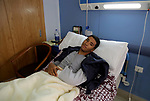 An Egyptian policeman injured during the anti-terror shootout in the desert of Giza province receives medical treatment in a police hospital in Giza, Egypt, on Oct. 26, 2017. 16 policemen were killed and another went missing in the Oct. 20 shootout with terrorists in the desert of Giza province. Photo by Amr Sayed