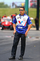 May 22, 2016; Topeka, KS, USA; NHRA pro stock crew member Dave Connolly during the Kansas Nationals at Heartland Park Topeka. Mandatory Credit: Mark J. Rebilas-USA TODAY Sports