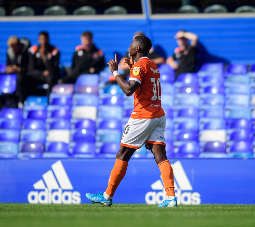 Blackpool's Sullay Kaikai celebrates scoring his side's second goal<br /> <br /> Photographer Chris Vaughan/CameraSport<br /> <br /> The EFL Sky Bet League One - Coventry City v Blackpool - Saturday 7th September 2019 - St Andrew's - Birmingham<br /> <br /> World Copyright © 2019 CameraSport. All rights reserved. 43 Linden Ave. Countesthorpe. Leicester. England. LE8 5PG - Tel: +44 (0) 116 277 4147 - admin@camerasport.com - www.camerasport.com