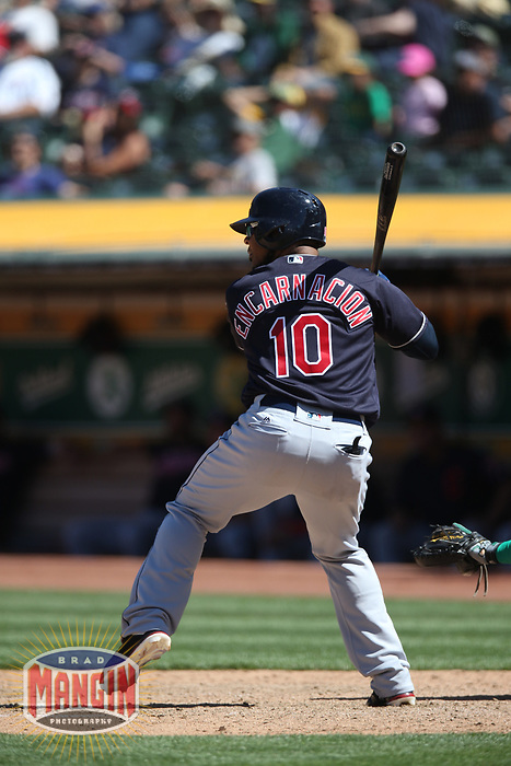 OAKLAND, CA - JUNE 30:  Edwin Encarnacion #10 of the Cleveland Indians bats against the Oakland Athletics during the game at the Oakland Coliseum on Saturday, June 30, 2018 in Oakland, California. (Photo by Brad Mangin)