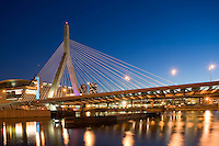 Zakim Bridge, night, Boston, MA