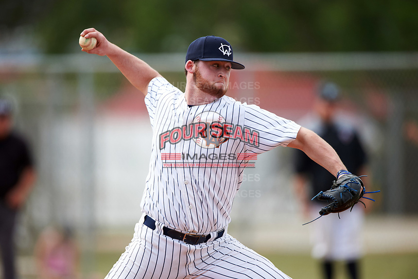 Western Connecticut Colonials relief pitcher Matt Fasoli (32) delivers a pitch during the second game of a doubleheader against the Edgewood College Eagles on March 13, 2017 at the Lee County Player Development Complex in Fort Myers, Florida.  Edgewood defeated Western Connecticut 3-1.  (Mike Janes/Four Seam Images)