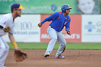 South Bend Cubs shortstop Isaac Paredes (16) leads off second base during a game against the Burlington Bees at Community Field on May 10, 2017 in Burlington, Iowa.  The Bees won 4-3 in 10 innings.  (Dennis Hubbard/Four Seam Images)