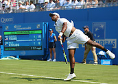 June 19th 2017, Queens Club, West Kensington, London; Aegon Tennis Championships, Day 1; Donald Young of USA serves the ball versus Nick Kyrgios of Australia