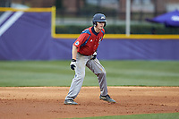 Matthew Cocciadiferro (8) of the NJIT Highlanders takes his lead off of second base against the High Point Panthers at Williard Stadium on February 18, 2017 in High Point, North Carolina. The Highlanders defeated the Panthers 4-2 in game two of a double-header. (Brian Westerholt/Four Seam Images)