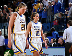 BROOKINGS, SD - MARCH 19:  Clarissa Ober #21 and Kerri Young #10 from South Dakota State walk off the court after the Jacks fell to Colorado 81-75 in their second round WNIT game at Frost Arena March 19, 2017 in Brookings, South Dakota. (Photo by Dave Eggen/Inertia)