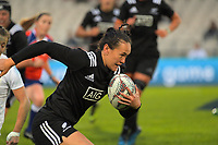 Portia Woodman takes an intercept to score during the 2017 International Women's Rugby Series rugby match between the NZ Black Ferns and England Roses at Rotorua International Stadium in Rotorua, New Zealand on Saturday, 17 June 2017. Photo: Dave Lintott / lintottphoto.co.nz
