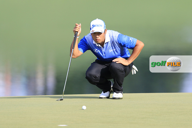 Hideki Matsuyama (JPN) lines up his putt on the 14th green during Thursday's Round 1 of the 2017 PGA Championship held at Quail Hollow Golf Club, Charlotte, North Carolina, USA. 10th August 2017.<br /> Picture: Eoin Clarke | Golffile<br /> <br /> <br /> All photos usage must carry mandatory copyright credit (&copy; Golffile | Eoin Clarke)