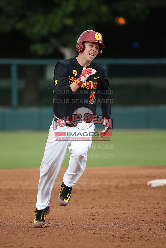 Tyler Pritchard #10 of the Southern California Trojans runs the bases during a game against the Coppin State Eagles at Dedeaux Field on February 18, 2017 in Los Angeles, California. Southern California defeated Coppin State, 22-2. (Larry Goren/Four Seam Images)