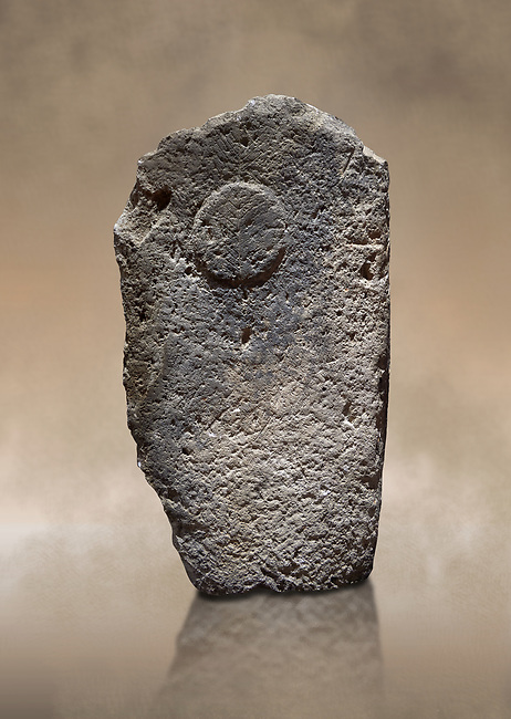 Late European Neolithic prehistoric Menhir standing stone with carvings on its face side.  Menhir Museum, Museo della Statuaria Prehistorica in Sardegna, Museum of Prehoistoric Sardinian Statues, Palazzo Aymerich, Laconi, Sardinia, Italy