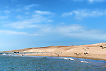 Sand dunes and beach at the Lagoon of Khenifiss (Lac Naila), Atlantic coast, Morocco.