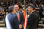 From left, Nevada Superintendent Dale Erquiaga, Principal Daniel Sadler and Nevada Gov. Brian Sandoval talk before Sandoval signs an anti-bullying bill into law at Carson Middle School in Carson City, Nev., on Wednesday, May 20, 2015<br /> Photo by Cathleen Allison