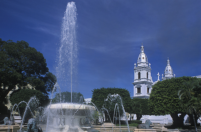 Central Plaza, Cathedral Fountains, Lion Statue, Ponce, Puerto Rico