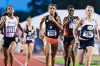 Olivia Baker of Stanford, Kaela Edwards of Oklahoma State and Kelsey Brown-Gilbert of BYU compete in 800 meter prelims during West Preliminary Track and Field Championships, Friday, May 29, 2015 in Austin, Tex. (Mo Khursheed/TFV Media via AP Images)