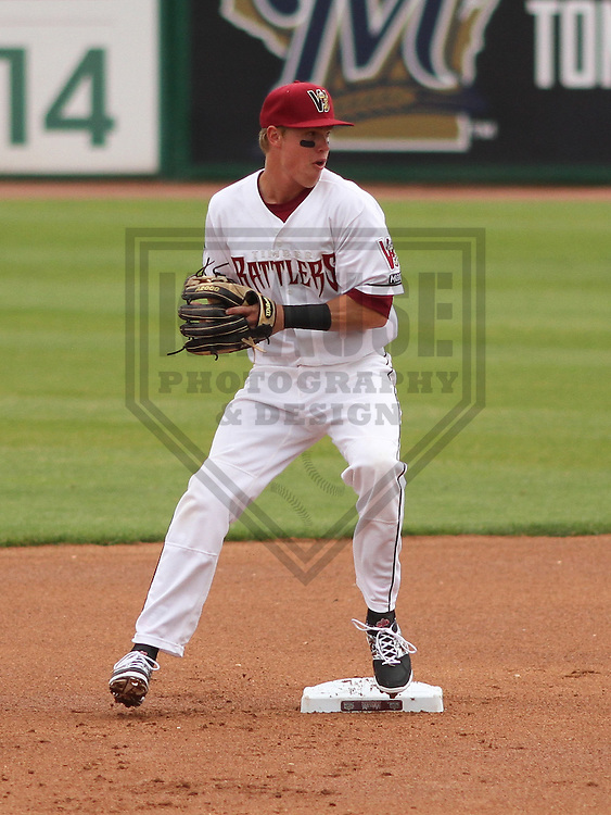 APPLETON - June 2015: Wisconsin Timber Rattlers second baseman Tucker Neuhaus (10) during a Midwest League baseball game against the Cedar Rapids Kernels on June 30th, 2015 at Fox Cities Stadium in Appleton, Wisconsin. Cedar Rapids defeated Wisconsin 3-2. (Brad Krause/Krause Sports Photography)