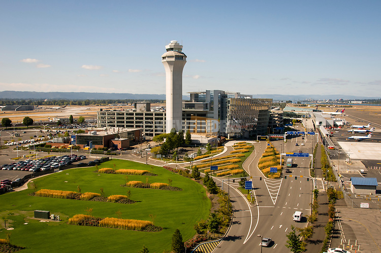 Aerial view looking west at the Portland International Airport.