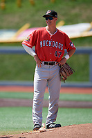 Batavia Muckdogs Jack Strunc (47) during a NY-Penn League game against the West Virginia Black Bears on August 29, 2019 at Monongalia County Ballpark in Morgantown, New York.  West Virginia defeated Batavia 5-4 in ten innings.  (Mike Janes/Four Seam Images)