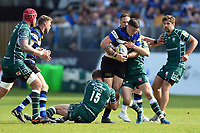 Matt Banahan of Bath Rugby takes on the London Irish defence. Aviva Premiership match, between Bath Rugby and London Irish on May 5, 2018 at the Recreation Ground in Bath, England. Photo by: Patrick Khachfe / Onside Images