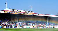 A rainbow appears in the spray of water at the pitch at Scunthorpe United's Glanford Park is watered before kick off<br /> <br /> Photographer Chris Vaughan/CameraSport<br /> <br /> The EFL Sky Bet League One - Scunthorpe United v Bolton Wanderers - Saturday 8th April 2017 - Glanford Park - Scunthorpe<br /> <br /> World Copyright &copy; 2017 CameraSport. All rights reserved. 43 Linden Ave. Countesthorpe. Leicester. England. LE8 5PG - Tel: +44 (0) 116 277 4147 - admin@camerasport.com - www.camerasport.com